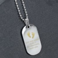 Personalised Footprints Stainless Steel Dog Tag Necklace - Ideal gift for Birthdays, Christmas, Christenings, Celebrating the birth of a New Born.